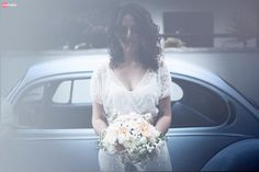 "Classic ""Pale Blue"" VW Beetle // Bouquet: Rollo Fiori // Bride dressing gown: Grazia'Lliani //  Giorgio + Maria Grazia // October 10, 2015 // Vintage Wedding // Photo Reportage: WeMake // Flowers: Rollo Fiori // Dress: Celestina Agostino // Shoes: Charlotte Mills // Keywords: English Garden Theme - shabby - vintage - fall - key - rose - green - pink - flowers - umbrella - rain - books - VW Beetle - rock n'roll - romantic"