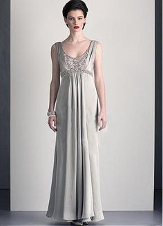 Glamourous Satin Chiffon A-line Scoop Neckline Full Length Mother of the Bride Dress in Fashion Design