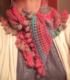 Zooty Owl's Road Trip Scarf with a pompom edge, in Red Heart Unforgettable Boutique yarn, Parrot