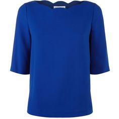 Claudie Pierlot Scalloped Neck Top (765265 PYG) ❤ liked on Polyvore featuring tops, scallop top, scallop hem top, scallop edge top, claudie pierlot and blue top