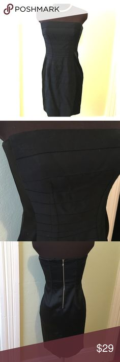 Gorgeous Ann Taylor little black dress This strapless beauty is satin with pretty pleating in the front. Ann Taylor Dresses Strapless