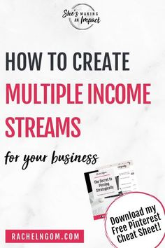 Looking for income streams ideas and tips on how to create multiple revenue streams? In this post I share all of our income streams, like passive income, online services and even offline income streams. If you want financial freedom and security you NEED to create multiple streams of income. Repin and grab my free cheat sheet to get more leads with Pinterest and watch your business grow! Multiple Streams Of Income, Income Streams, Make Money Blogging, Way To Make Money, Affiliate Marketing, Social Media Marketing, Business Tips, Online Business, Jobs For Single Moms