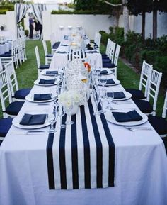 navy blue and white striped tablecloth table runner Cotton stripped wedding tablecloth nautical black and white beach wedding decor by FantasyFabricDesigns on Etsy Table Nautique, Deco Theme Marin, Palm Springs, Wedding Tablecloths, Striped Table Runner, Wedding Decorations, Table Decorations, Wedding Centerpieces, Nautical Table Centerpieces