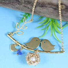 Gold Nest Necklace   New Mom Necklace   Mom to Be by MonyArt, $45.80