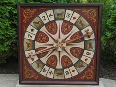Primitive Wood Roulette Derby Game Board Folk Art Horse Antique Reproduction Gameboard