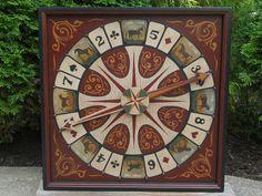 Primitive Wood Roulette Derby Game Board Folk Art Horse Antique Reproduction Gameboard