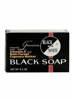 BLACK and WHITE Black Soap by Black & White. $5.50. Removes grime, dust and oil from skin. Lathers freely. Rinses off easily. BLACK and WHITE Black Soap is enriched with Vitamin E and Rain Forest Cupuacu Butter.