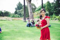 Red chiffon looks effortless and chic on this lovely bridesmaid! A colorful wedding from Australia Victoria Wedding, Red Bridesmaid Dresses, Red Chiffon, Wedding Colors, Real Weddings, Australia, Colorful, Formal Dresses, Chic