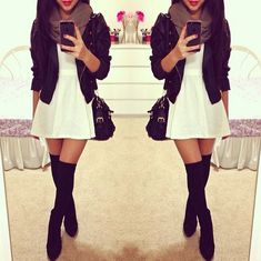 little white dress with thigh high stockings/boots I adoree