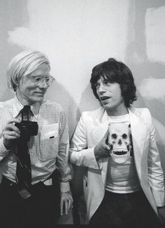 Buy this Andy Warhol and Mick Jagger print today at Morrison Hotel Gallery. Warhol poses with with a camera while Mick Jagger holds a skull replica. Pop Art, Disco Party, Louise Brooks, Art Marilyn Monroe, James Rosenquist, Foto Poster, The Rolling Stones, Portraits, Arte Pop