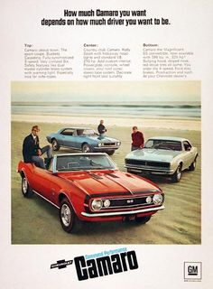1967 Chevrolet Camaro Classic Ad. How much Camaro you want depends on how much driver you want to be. Featuring the 3-speed sport coupe, the Rally Sport with hideaway headlights and V8, and the SS convertible with available 396, red stripe tires and posi-traction.