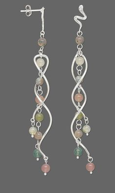 Earrings with Fancy Jasper Gemstone Beads and Sterling Silver Focals