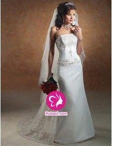 Fourreau Sans bretelles Traîne mi-longue Robe de mariée en Satin avec Perle Broderie Dentelle(FR002221)