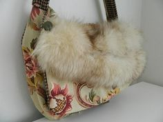 Messenger Bag Laptop computer Recycled Fur Coat by bessiee on Etsy, $54.00