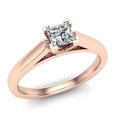 Princess Cut Diamond Engagement Ring 14K Rose Gold 1/3 ctw (Ring Size 4)