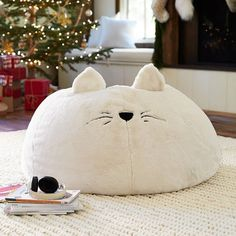 PB Teen Cat Faux-Fur Critter Beanbag, Slip, Large ($135) ❤ liked on Polyvore featuring home, home decor, owl home decor, fox home decor, bean bag, bunny home decor and cat bean bag