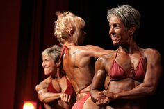 My favorite picture of the bodybuilding show - posedown of the over-50 women bodybuilders.     Yes, there is life after one reaches 50.