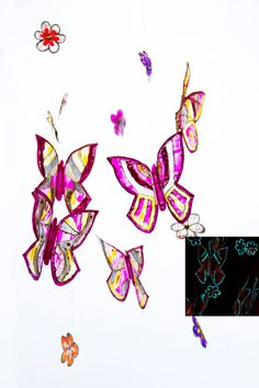 Nursery mobile butterflies and flowers glowing in the dark, OOAK hand painted home ornament. Pink, violet, purple.Stained-glass view decor.