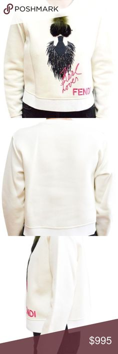 Fendi Womens Karlito Size Euro 42 (u.s. 6) Sweater White cotton blend and silk 'Karlito' sweatshirt from Fendi featuring a round neck, a shoulder zip fastening, long sleeves, a cropped length, a signature black mink fur Karl Lagerfeld 'Karlito' design and embroidered pink     Fur-embellished logo tops casual-cool pullover  Round neckline  Ribbed neckline, cuffs and hem  Long sleeves  Pullover style  Silk lining  Cotton/nylon  Fur type: Dyed fox  Fur origin: Finland  Fur type: Dyed mink  Fur…