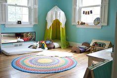 Montessori ideas for Sawyer's room. Love the fort in the corner.