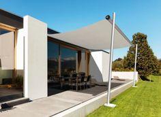 Sonnensegel für Bungalow-Terrasse ☂ weißes Sonnensegel ☂ aufrollbar