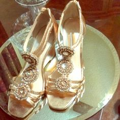 Vince Camuto rose gold sandals Mr Camuto is known for comfort.  These are very comfortable with a wedge heel for a special occasion .  Gently worn Vince Camuto Shoes Sandals