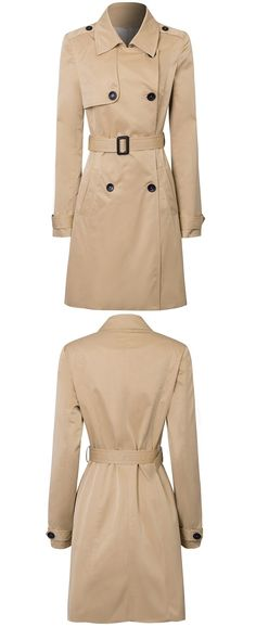 Joeoy Women's Classic Double Breasted Trench Coat with Belt