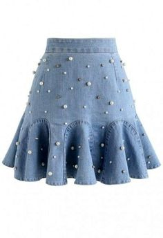 Bouncing Pearls Denim Mini Skirt, You can collect images you discovered organize them, add your own ideas to your collections and share with other people. Stage Outfits, Skirt Outfits, Cute Outfits, Dress Skirt, Denim Mini Skirt, Mini Skirts, Mode Unique, Unique Fashion, Fashion Design
