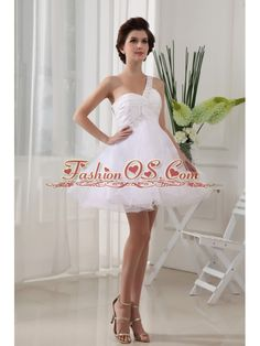 One Shoulder White and Ruch For Prom Dress With Organza Mini-length  http://www.fashionos.com  | affordable prom dress | prom dress with zipper up back | fitted waist prom dress | a line prom dress | prom dress under 150 | white prom dress | special occasion dresses | 2014 brand new dresses | graduation prom dress |  This is a sweet and sexy white prom dress. All eyes will be on you in this sexy one-shoulder mini-length prom dress.