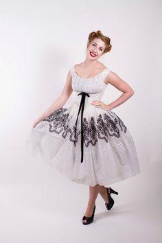 Vintage 1950s Dress White Nylon Chiffon with by stutterinmama, $298.00
