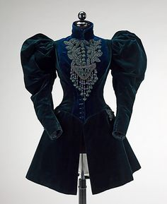 1895 afternoon jacket, dark blue velvet(?)