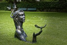 Statue, Femme, Jardin