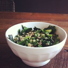 sauteed collard greens & garlic with balsamic & quinoa.