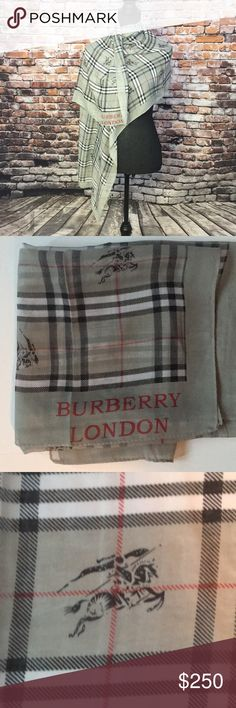 """Burberry London sheer lightweight silk scarf NWOT This was a gift to me. It is not my taste and I have never worn it.   Length 60"""" Width 21"""" Burberry Accessories Scarves & Wraps"""