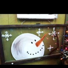2015 christmas diy snowman and snowflake glitter wooden window frame - hand painted, christmas crafts - 2015 Christmas snowman sign decor ideas that you will like ! by pinkii