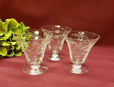 """Tiffin Franciscan CYNTHIA Pattern, 3 1/4"""" Tall Oyster or Dessert Glass, Blown Glass, Loops Ferns, RARE Mid Mod 1950s Barware, Sold Per Stem Dessert Glasses, Crystal Wine Glasses, Glass Company, China Dinnerware, Diamond Pattern, Blown Glass, Ferns, Oysters, Shot Glass"""