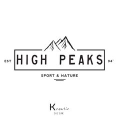 Mountain Logo Design. Mountains Badge Logo. Mountain Peak Logo. Brand Mountain Logo. Watermark Nature Logo. Adventure Sport Logo. by KreativDesk on Etsy