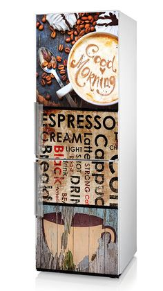"Fridge Vinyl Sticker ""Cappuccino"", Self-Adhesive Vinyl Refrigerator Decal, Kitchen Décor, Refrigerator Decal, Fridge Decal with Coffe"