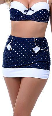 Navy & White Liz High Waist Bikini Skirt Bottoms // precious swimsuit