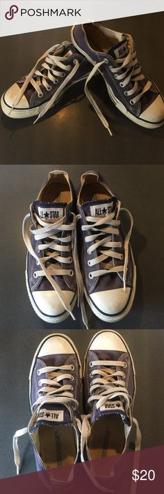 Converse Chuck Taylor All-Star low top sneaker Great used condition! Nice blue color. Sadly, my feet are just a little too big for these and they never got much wear. Converse Shoes Sneakers