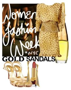 """Micro Trend: Solid Gold Sandals"" by eclectic-ave82 on Polyvore featuring Estée Lauder, Martinez Valero, Vince Camuto, Caravelle by Bulova and goldsandals"
