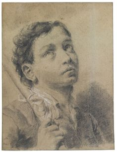 Giovanni Battista Piazzetta - Study of a Boy, Bust length, Holding a Staff. Portrait Drawing, Sketches, 18th Century Paintings, Old Master, Zentangle Drawings, Sketch Painting, Master Drawing, Portrait, Portrait Art