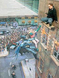Classic batman and Robin street art Street Work, 3d Street Art, Edgar Mueller, Chalk Artist, Hip Hop, Parts Unknown, Leather Leaf, Cool Magazine, Chalk Drawings