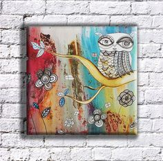 Canvas Wall Art 'SURREAL OWL'  MAGICAL Owl The original mixed media painting by CambreaGallery on Etsy #owlart #bohemianstyle #bohochic