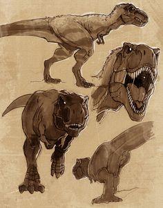 Tyrannosaurus sketches by VanOxymore Dinosaur Sketch, Dinosaur Drawing, Dinosaur Art, Animal Sketches, Animal Drawings, Extinct Animals, Prehistoric Creatures, Tyrannosaurus Rex, Creature Concept