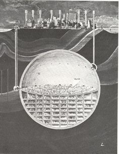 1969 plans to build an underground nuke-proof Manhattan.  The author of this plan speculated on building this spherical city in Manhattan bedrock—a structure which so far as I can determine would have a volume of 1.2 cubic miles (5 km3) with its top beginning some 1,200' under Times Square […] Newman published this in 1969 (?!) after somehow latching onto the idea of clearing out massive underground caverns with nuclear explosions—in this case, the space would be hollowed out ...