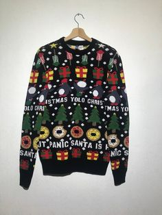 Ugly Christmas Sweater - X-mas Merry Christmas Dark Blue Party Jumper Funny Christmas Sweater Small Size Jumper Holiday Sweaters, Funny Christmas Sweaters, Party Jumpers, Blue Party, Ugly Sweater, Dark Blue, Ready To Wear, Merry Christmas, Sleeves
