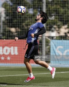 Isco of Real Madrid in action during a training session at Valdebebas training ground on April 22, 2017 in Madrid, Spain.