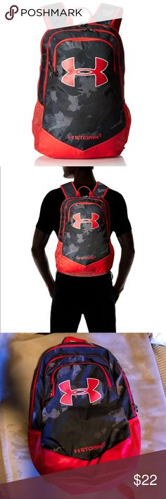 UNDER ARMOUR Boy's Storm Scrimmage Back Pack I am fairly firm on this price, FYI. Sold out everywhere! My son used this for one year of school. Shows minor wear and the inside is clean. Red with black camo print, UA, and Heat Gear logos. See photos for additional details and dims. Bundle discounts available and daily shipping. Happy Poshing! Under Armour Accessories Bags