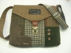 SewMuchStyle Recycled suitcoat bags ~Recycled purse brown wool, green houndstooth on Etsy ~ This link takes you to the seller ~